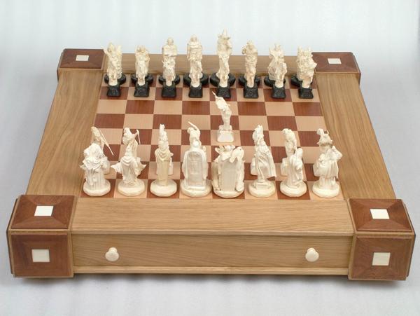 Шахматный набор Валькирьи и Нибелунги вид сверху